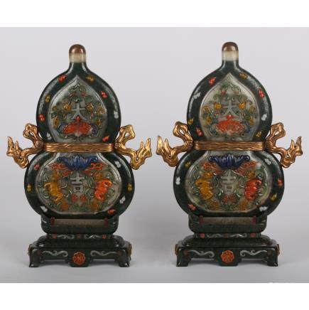 CHINESE PAIR OF ROSEWOOD INLAID JADE AND STONES