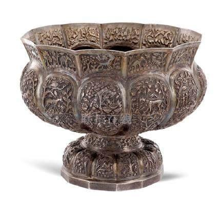 Silver centerpiece Oriental art, 20th century