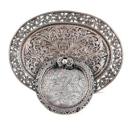 Group of two silver objects Oriental art,