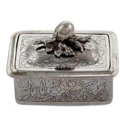 Silver soap box oriental art, early 20th century