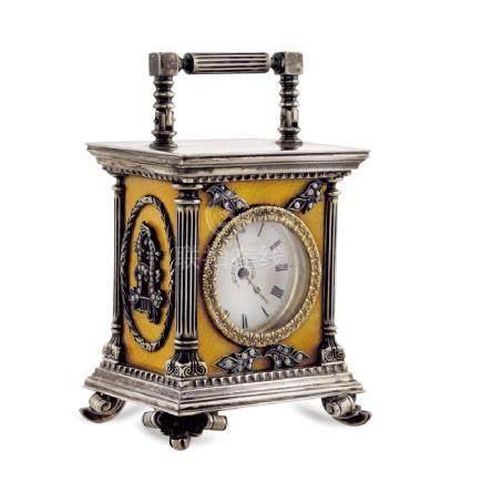 Silver and enamel miniature clock Russia, 20th century