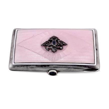 Silver and enamel cigarette box Russia, 20th century