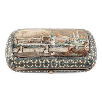 Silver and polychrome enamel snuffbox Moscow, 1875