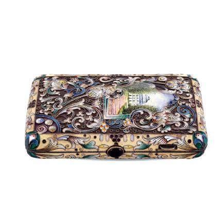 Silver and enamel cigarette box Russia,