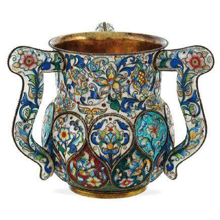 Three handled vermeil and cloisonne' enamels cup