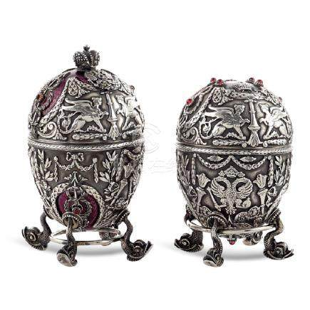 Pair of silver and enamel eggs Russia, 20th century