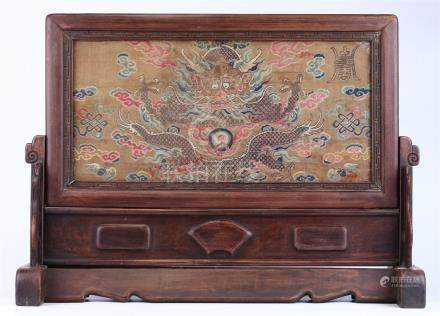 CHINESE BROCADE SILK TABLE SCREEN