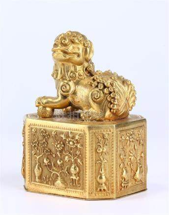 "CHINESE GOLD BOX AND ""FU DOG"" COVER"