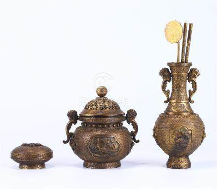 GROUP OF CHINESE GILT BRONZE ORNAMENTS