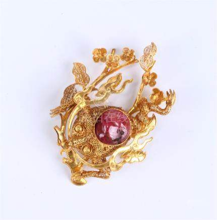 CHINESE GEM INLAID GOLD HAIR ORNAMENT