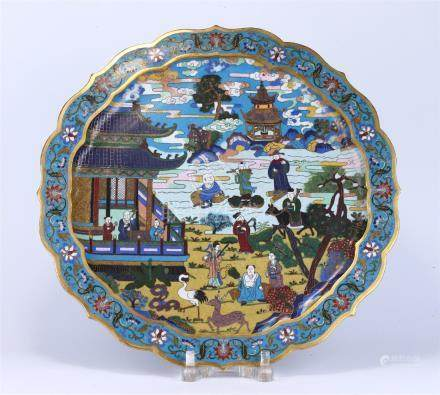 CHINESE CLOISONNÉ ENAMELED BRASS PLATE