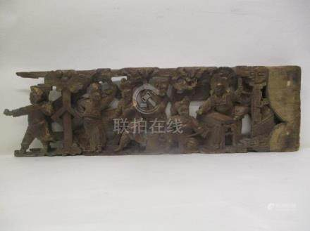 A 20th century Chinese red painted and gilt carved pine panel of an allegorical scene with six
