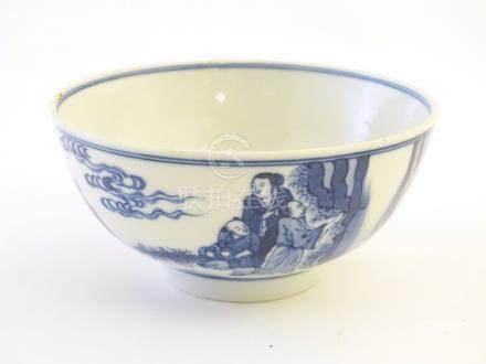 A Chinese blue and white bowl depicting scenes of figures in landscapes,