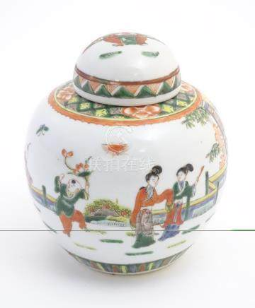 An Oriental lidded ginger jar,