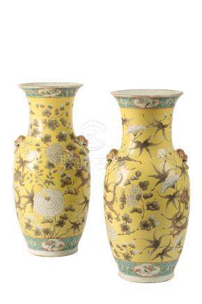 "A PAIR OF FAMILLE ROSE YELLOW GROUND ""DRAGON"" VASES"