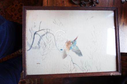 A CHINESE PAINTINGS ON SILK OF A KINGFISHER