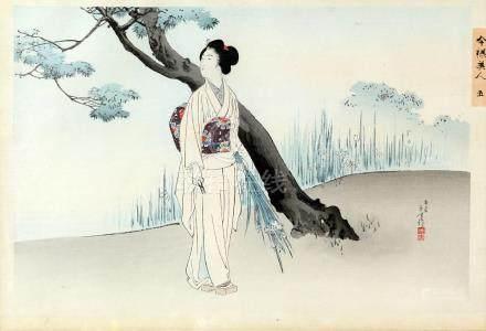 Toshikata, four Japanese woodblock prints from Imayo Bijin series, comprising 'January', 'April', '