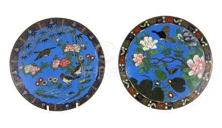 Two Japanese cloisonné dishes, one enamelled with birds amongst flowers and foliage, the other