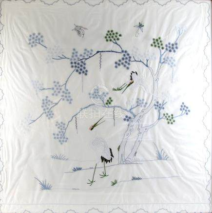 Early 20th century Japanese table cloth embroidered with Cranes amidst flowering blossom, 97cm