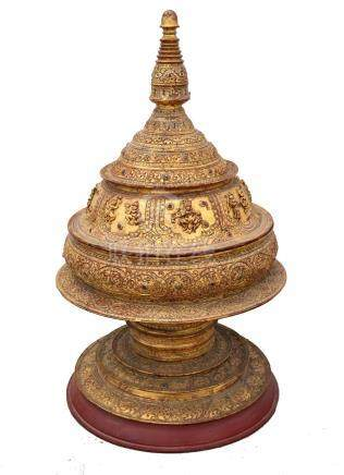 Burmese gilt and red lacquered offering pot and cover, with figural and jewelled decoration,