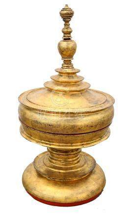 Burmese gilt and red lacquered offering pot and cover,