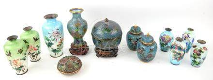 Collection of Japanese cloisonne and cloisonne type vases and jars and covers, (12),