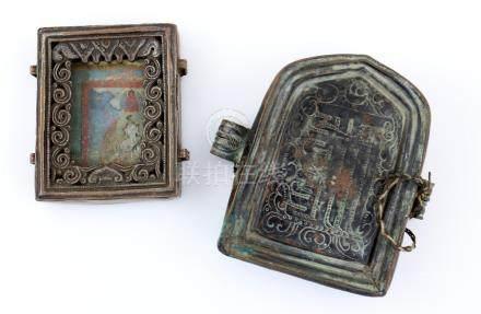 Tibetan copper amulet plaque with thangka, 8.5cm x 7cm, and a copper amulet box,