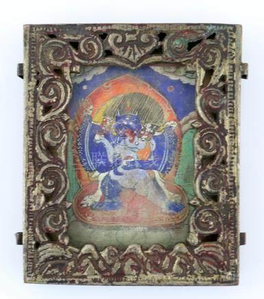 Tibetan copper amulet plaque with thangka, 8.5cm x 7cm,