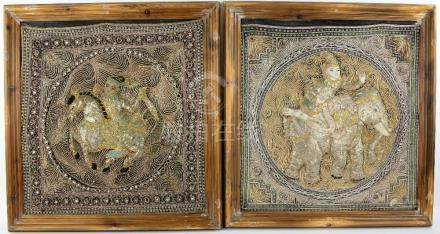 Pair of Indian raised and embroidered panels, figures on horseback with raised and jewelled