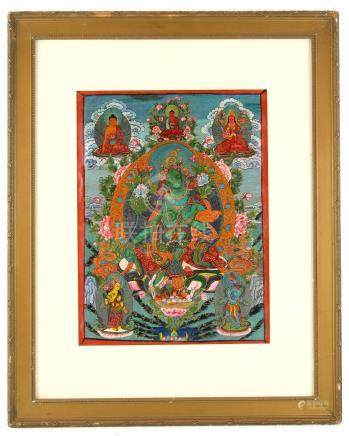 Painting depicting the Hindu Goddess Aditi with five figures around, 38cm x 28cm,