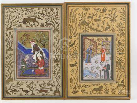 Pair of Indian miniature paintings depicting figures in courtyard settings, within a border of