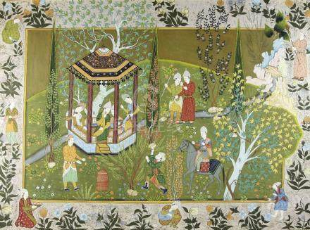 Indian picture figures in a garden, 83cm x 113cm