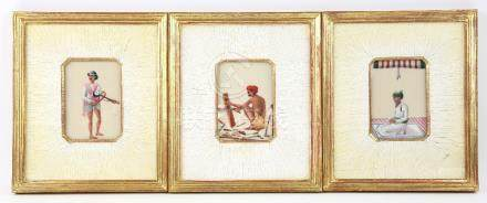Series of seven Indian miniature paintings of men at various pursuits, to include praying,