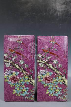 Chinese Beautiful A pair Famille Rose porcelain Flowers and