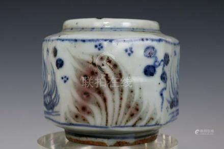 Chinese Blue and White Underglaze Red Porcelain Mandarin Duc