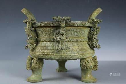 Chinese Beautiful Fine Bronze Prince afternoon tripod??????;
