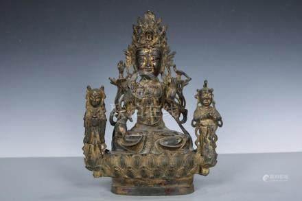 Chinese Beautiful Copper Boy worship Kwan-yin ; Length: 8.8