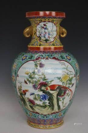 Beautiful Chinese Famille Rose Porcelain Elephant Handles Fl