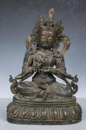 Chinese Beautiful Copper Kwan-yin ; Length: 11 inch Width: 9