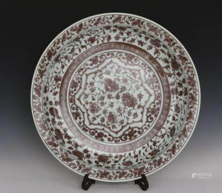 Fine Beautiful Chinese Huge Underglaze Iron Red Porcelain Fl
