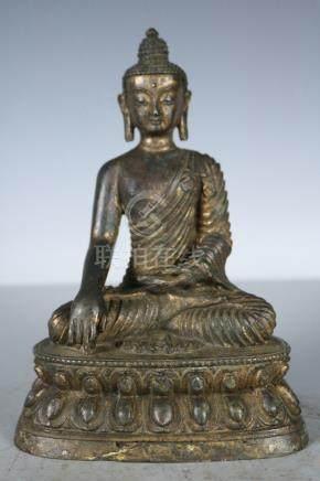 Chinese Beautiful Fine rare copper Buddha ; Length: 5.8 inch