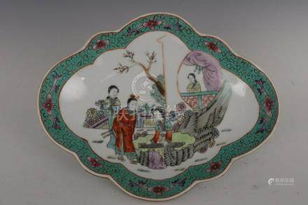 Fine Beautiful Chinese Famille Rose Porcelain Characters Pla