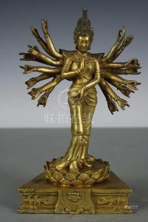 Chinese Tibet Beautiful Fine copper Gold Kwan-yin ; Length: