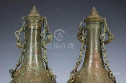 Chinese Beautiful A pair Fine Bronze Lotus seeds Pots ; Leng