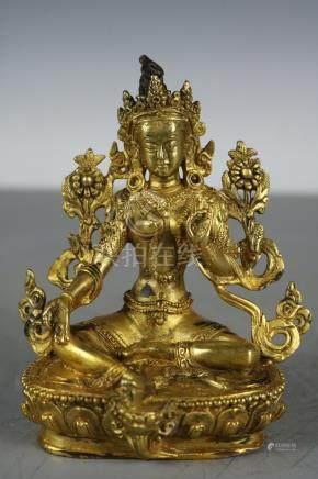 Chinese Tibet Beautiful Fine copper Gold Buddha ; Length: 4.