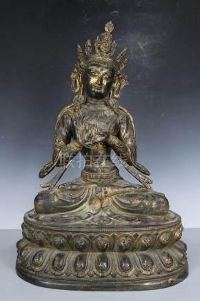 Chinese Tibet Beautiful Huge Copper Kwan-yin ; Length: 15.5