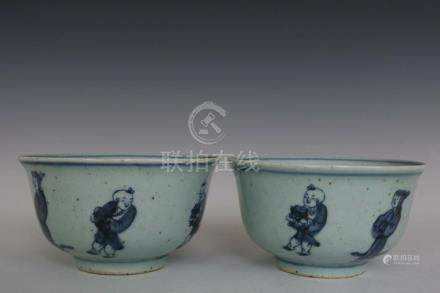 Fine Beautiful Chinese Pair Blue and White Porcelain Charact