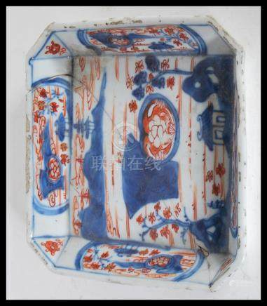 An 18th Century Chinese Qianlong period hand painted imari pattern decorated tray of square form