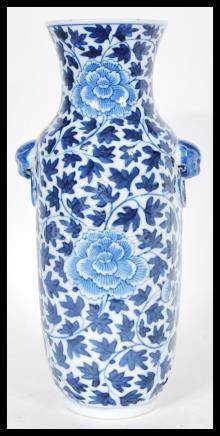 A 19th Century Chinese porcelain blue and white vase having ahnde painted decoration depicting