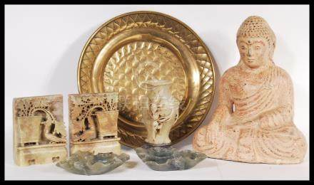 A collection of Chinese and Asian items to include carved soapstone figural pieces, a studio pottery